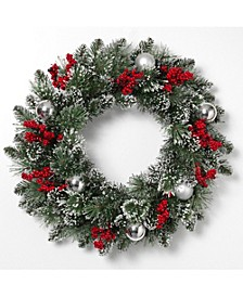 24-Inch-High Mixed Snow and Glitter Pine Wreath with Snow, Glitter, Balls and Berries