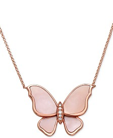 """EFFY® Mother-of-Pearl & Diamond Accent Pendant Necklace in 14k Rose Gold, 16"""" + 2"""" extender"""