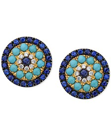 EFFY® Sapphire (1-1/2 ct. t.w.), Turquoise & Diamond (1/10 ct. t.w.) Stud Earrings in 14k Gold