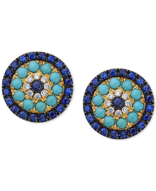 EFFY Collection EFFY® Sapphire (1-1/2 ct. t.w.), Turquoise & Diamond (1/10 ct. t.w.) Stud Earrings in 14k Gold