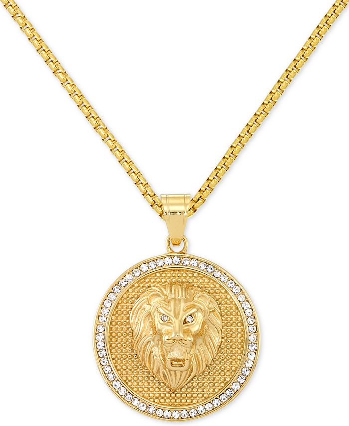 """LEGACY for MEN by Simone I. Smith - Men's Crystal Lion Medallion 24"""" Pendant Necklace in Yellow Ion-Plated Stainless Steel"""
