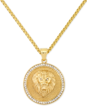 """Smith Men's Crystal Lion Medallion 24"""" Pendant Necklace in Yellow Ion-Plated Stainless Steel"""