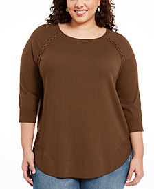 Plus Size Lace-Up Chevron-Trim Sweater, Created For Macy's