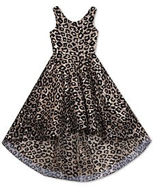 Big Girls Flocked Animal-Print High-Low Dress
