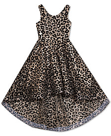 Rare Editions Big Girls Flocked Animal-Print High-Low Dress