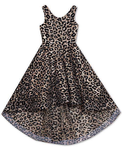 Rare Editions Big Girls Flocked Animal-Print High-Low Dress