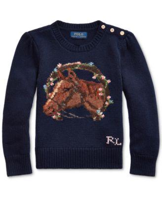 Little Girls Merino Blend Floral Horse Sweater