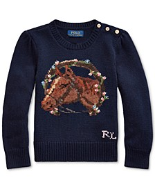Little Girls Merino Blend Floral Horse Sweater