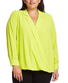 Plus Size Faux-Wrap Top