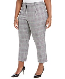 Plus Size Plaid Ankle Pants