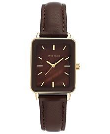 Anne Klein Women's Brown Leather Strap Watch 26x32mm
