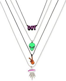 """Two-Tone 4-Pc. Set Pavé Alien Pendant Necklaces, 16"""" + 3"""" extender"""