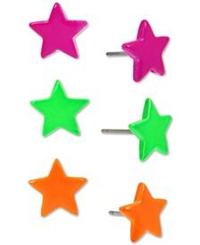 Silver-Tone 3-Pc. Set Neon Star Stud Earrings