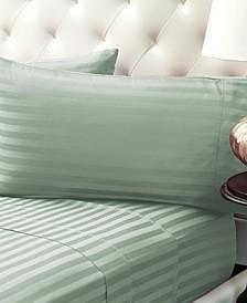 Damask Stripe Sateen Stripe Sheet Set- Twin