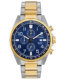 Men's Chronograph Quartz Two-Tone Stainless Steel Bracelet Watch 44mm