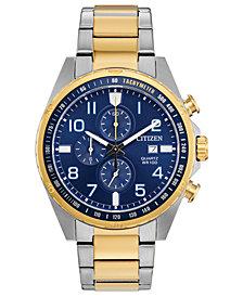 Citizen Men's Chronograph Quartz Two-Tone Stainless Steel Bracelet Watch 44mm