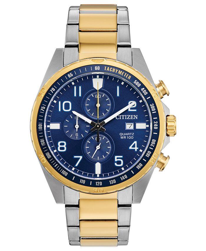 Citizen - Men's Chronograph Quartz Two-Tone Stainless Steel Bracelet Watch 44mm