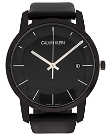 Unisex City Black Leather Strap Watch 43mm