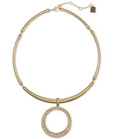 """Gold-Tone Pavé Circle Flexible Collar Pendant Necklace, 16"""" + 2"""" extender"""