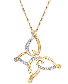 """Diamond Butterfly 18"""" Pendant Necklace (1/10 ct. t.w.) in 10k Gold"""