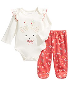 Baby Girls 2-Pc. Cotton Reindeer Bodysuit & Footie Pants Set, Created For Macy's