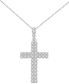 "Diamond Cross 18"" Pendant Necklace (1 ct. t.w.) in 14k White Gold"