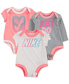 Baby Girls 3-Pk. Cotton Logo Bodysuits