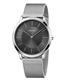 Unisex Minimal Stainless Steel Mesh Bracelet Watch 43mm