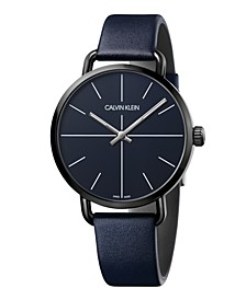 Unisex Even Navy Blue Leather Strap Watch 42mm