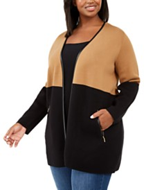Charter Club Plus Size Milano Two-Tone Cardigan, Created for Macy's