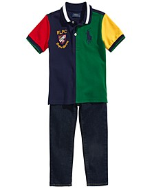 Toddler, Little & Big Boys Colorblocked Mesh Polo Shirt & Hampton Straight Stretch Jeans