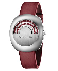 Calvin Klein Unisex Glimpse Red Leather Strap Watch 45mm