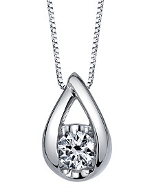 Sirena Diamond (1/10 ct. t.w.) Teardrop Pendant in 14k White, Yellow or Rose Gold
