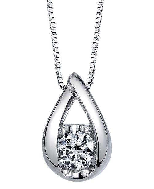 Macy's Sirena Diamond (1/10 ct. t.w.) Teardrop Pendant in 14k White, Yellow or Rose Gold