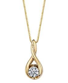 Sirena Diamond (1/10 ct. t.w.) Twist Pendant in 14k White or Yellow or Rose Gold