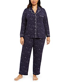 Plus Size Printed Top & Pants Pajamas Set, Created For Macy's