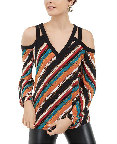INC International Concepts INC Printed Cold-Shoulder Top, Created For Macy's