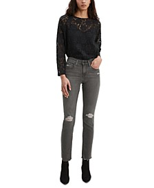Women's Classic Mid-Rise Ripped Skinny Jeans