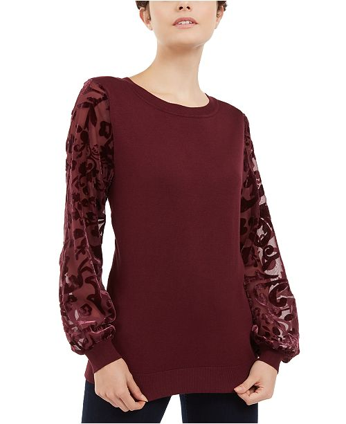 INC International Concepts INC Velvet Burnout-Sleeve Sweater, Created for Macy's