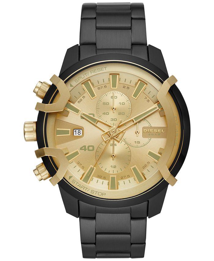 Diesel - Men's Chronograph Griffed Black Stainless Steel Bracelet Watch 48mm