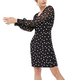 INC Smocked Dot-Print Dress, Created For Macy's