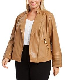 Plus Size Seamed Faux-Leather Moto Jacket