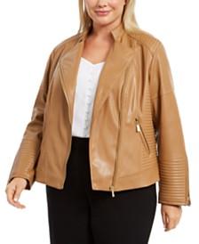 Calvin Klein Plus Size Seamed Faux-Leather Moto Jacket