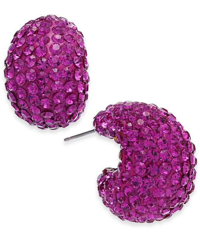 "kate spade new york Small Stone & Resin Pavé Hoop Earrings 1"""