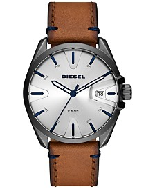 Diesel Men's MS9 Brown Leather Strap Watch 43mm