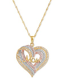 "Swarovski Zirconia Mom Triple Heart 18"" Pendant Necklace in Sterling Silver, 18k Gold- & 18k Rose Gold-Plate"