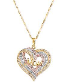 """Swarovski Zirconia Mom Triple Heart 18"""" Pendant Necklace in Sterling Silver, 18k Gold- & 18k Rose Gold-Plate"""