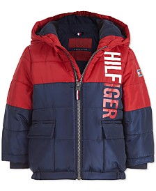 Tommy Hilfiger Baby Boys Jack Dark Blue Colorblocked Logo-Print Puffer Jacket