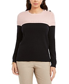 Petite Colorblocked Button-Trim Sweater, Created For Macy's