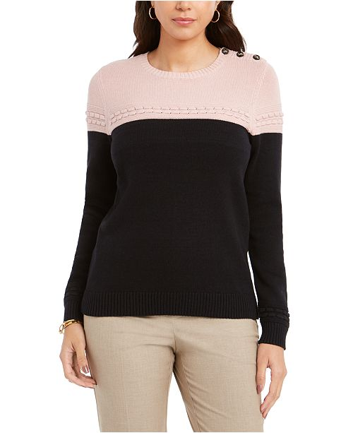 Charter Club Colorblocked Mixed-Stitch Sweater, Created For Macy's